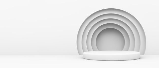 3d 렌더링에 동그라미가있는 흰색 플랫폼