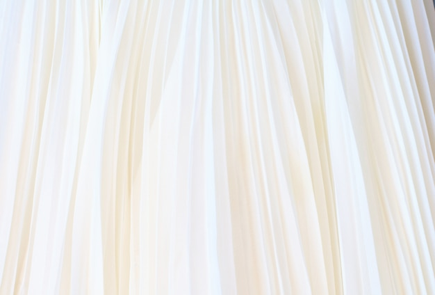 White pleated fabric