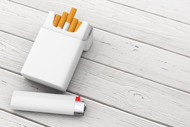 Белая карманная зажигалка возле пустой пачки сигарет макета на деревянном столе. 3d рендеринг
