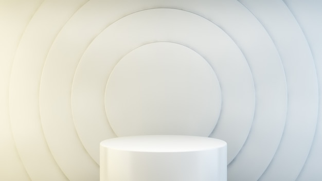 White podium on abstract circles background 3d rendering