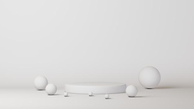 白い背景の上の白い表彰台シリンダーテンプレート