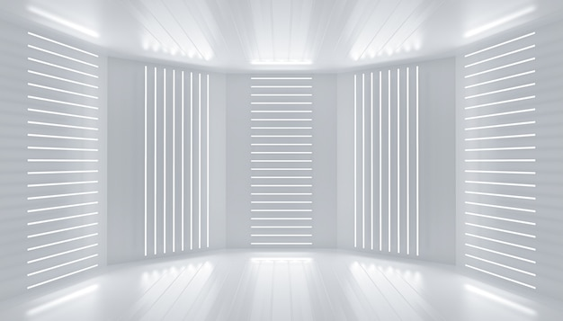 흰색 연단 장식 빈 무대 네온 라인 조명 방 추상적 인 배경 빛나는 벽 패널