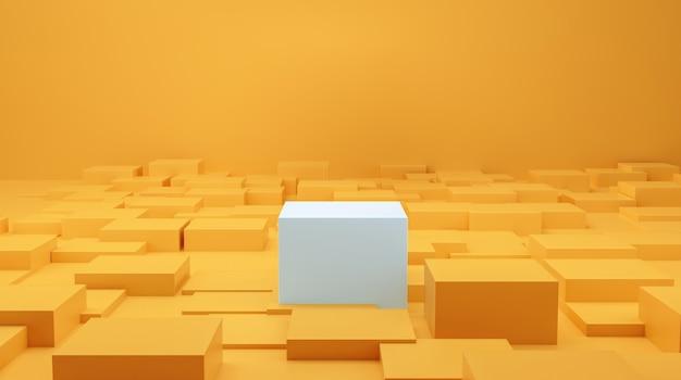 기하학적 배경 스튜디오 노란색 포춘 색상의 하이라이트 제품을 위한 흰색 연단입니다. 화장품 및 건강 골드에 적합합니다. 3d 렌더링.