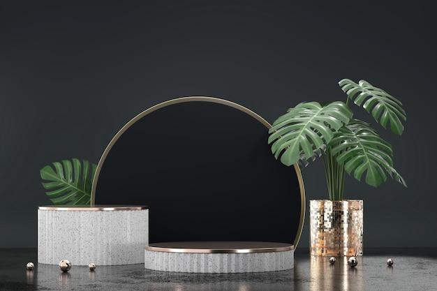 黒の背景3dレンダリングでモンステラポット装飾と製品ディスプレイショーケースの白い表彰台