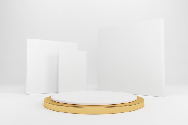 製品、3 dレンダリングの抽象的な背景の白い表彰台。