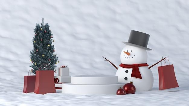 クリスマスの装飾が施された冬の白い表彰台