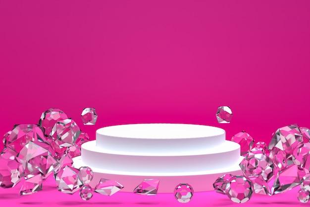化粧品やディスプレイ製品のプレゼンテーション、抽象的な幾何学的形状、3 dレンダリングの白い表彰台最小限の抽象的な背景