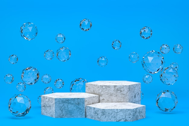 White podium minimal abstract on blue