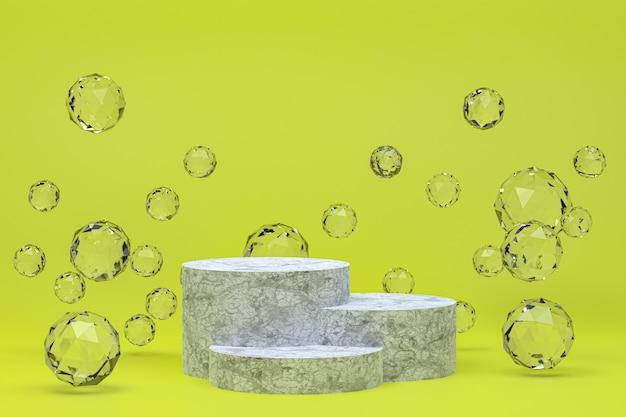 化粧品のプレゼンテーションのための白い表彰台最小限の抽象的な緑の背景