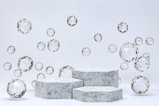White podium minimal abstract on grey