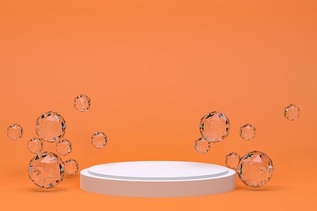 化粧品のプレゼンテーション、抽象的な幾何学的形状の白い表彰台最小限の抽象的なオレンジ色の背景
