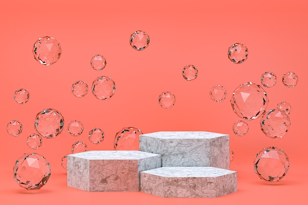 White podium minimal abstract on pink
