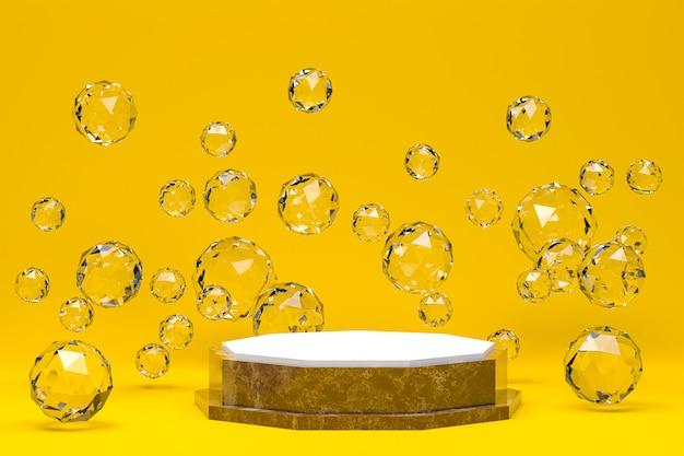 화장품 발표를위한 흰색 연단 최소한의 추상 노란색 배경