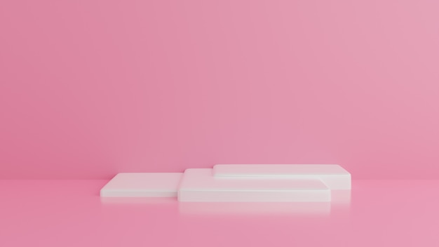 White podium minimal pink wall.abstract background. .