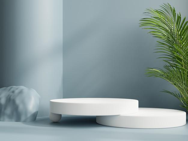 Display mockup podio bianco con presentazione del prodotto, rendering 3d