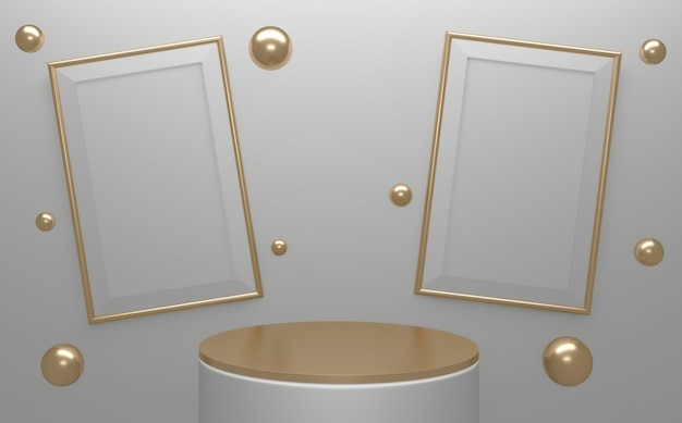 背景の白い表彰台は最小限のスタイルを抽象化します。 3dレンダリング