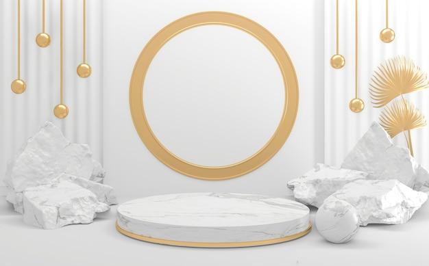 Белый подиум на фоне абстрактного минимального стиля. 3d рендеринг