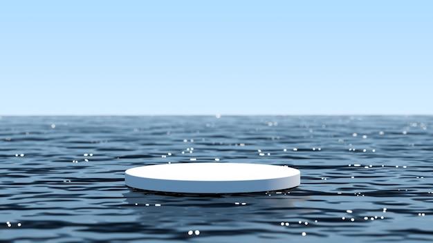モンタージュ製品の展示のための青い海の白い表彰台
