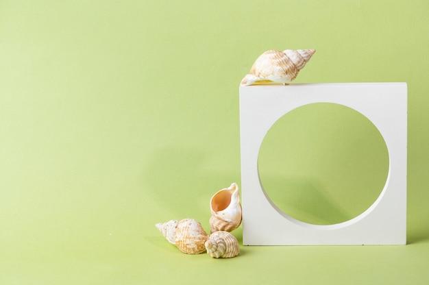 緑の背景に白い表彰台。テンプレート、プレゼンテーション製品のモックアップ。パステルカラーは、自然の貝殻と幾何学的な形で構成をスタイリングしました。最小限のコンセプト。化粧品のモックアップ