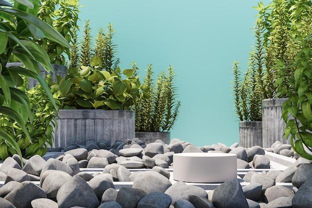 흉내낸 정원 장면의 흰색 연단, 파란색 배경의 돌, 식물, 제품 또는 광고 프레젠테이션을 위한 추상적인 배경. 3d 렌더링