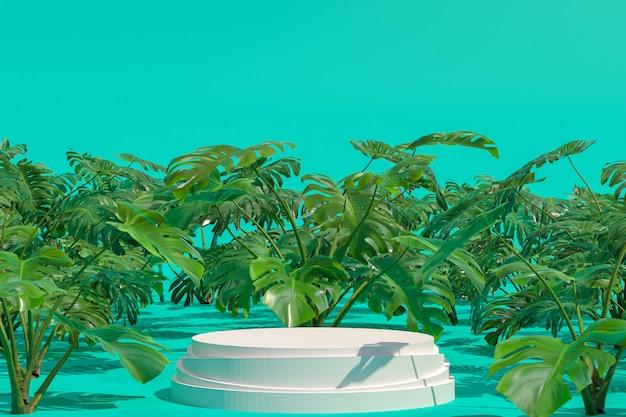 モンステラデリシオサ自然庭園の白い表彰台