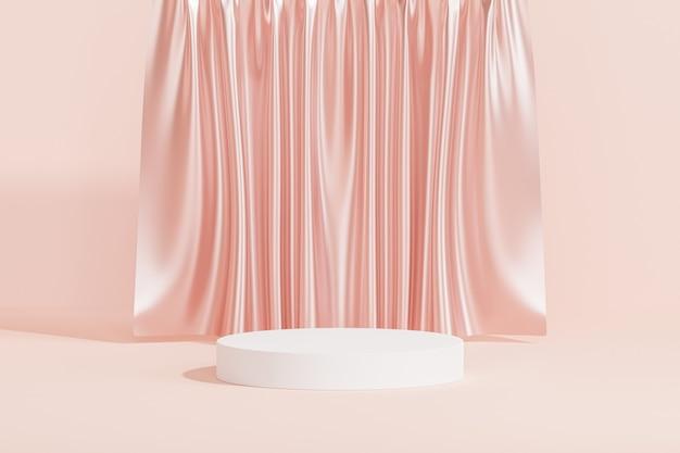 Белый подиум или постамент для продуктов или рекламы на розовом фоне с шторами, 3d визуализация