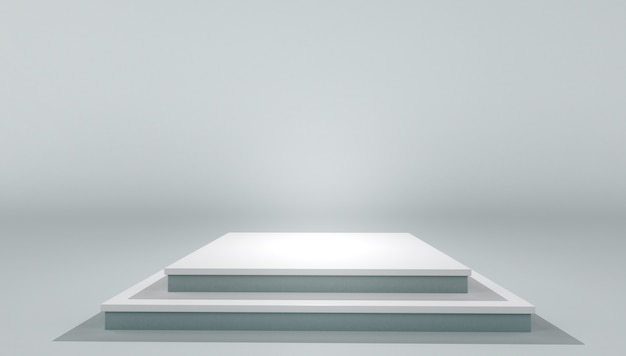 White podium pedestal platform. mock up of blank template layout white empty stage