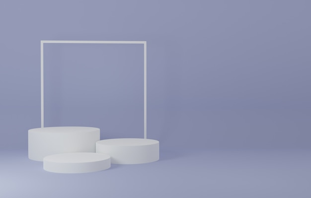 자주색 방에있는 백색 연단 제품 대, 제품을위한 스튜디오 장면, 최소한의 디자인, 3d 연출