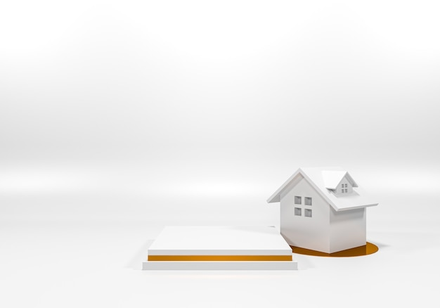 흰색 연단 선반 또는 빈 받침대 디스플레이 최소한의 스타일. 제품 배치를위한 빈 스탠드. 프리미엄 사진 3d 렌더링