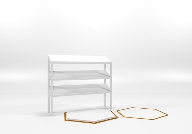 Белая полка подиума или пустой постамент отображают минималистичный стиль. пустой стенд для размещения продукции. премиум фото 3d-рендеринг