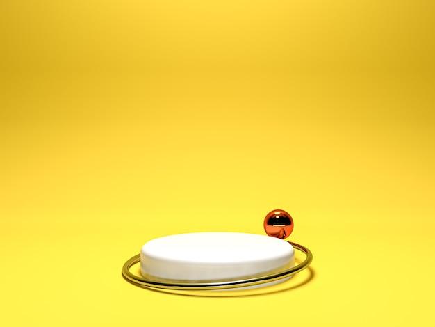최소한의 스타일로 노란색 배경에 흰색 연단 선반 또는 빈 받침대 표시. 제품 배치를위한 빈 스탠드. 프리미엄 사진 3d 렌더링