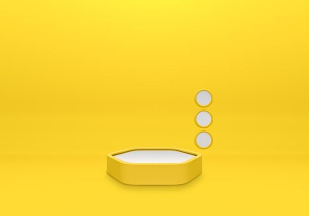最小限のスタイルで黄色の背景に白い表彰台の棚または空の台座ディスプレイ。プロダクトプレースメント用のブランクスタンド。プレミアム写真の3dレンダリング