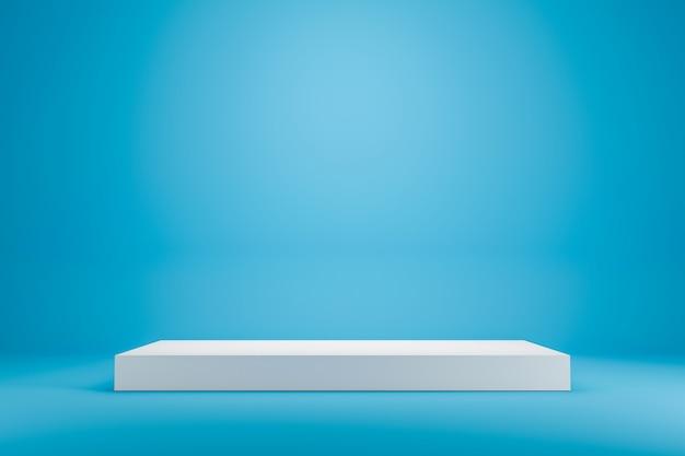 최소한의 스타일로 생생한 푸른 여름 배경에 흰색 연단 선반 또는 빈 스튜디오 디스플레이. 제품을 보여주기위한 빈 스탠드. 3d 렌더링.