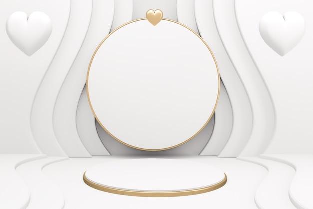 Белый подиум шоу косметический продукт геометрический на белом фоне. 3d визуализация