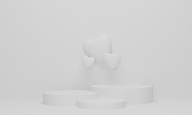 White podium stage and heart shape backdrop