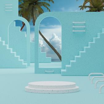 제품 배치 3d 렌더를 위한 나무 배경이 있는 흰색 연단 스탠드 푸른 하늘