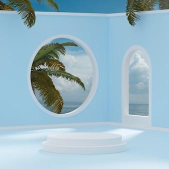 제품 배치 3d 렌더를 위한 열대 나무 배경이 있는 흰색 연단 스탠드 푸른 하늘
