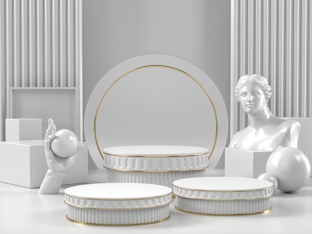 White podium stand and classic roman element for beauty cosmetic or another brand.