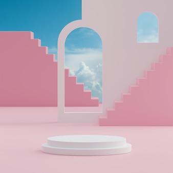 제품 배치 3d 렌더를 위한 열대 나무 배경이 있는 흰색 연단 스탠드 바다 푸른 하늘