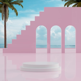 White podium stand ocean blue sky with tropical trees background for product placement 3d render