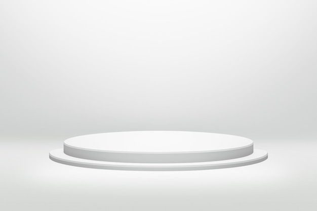 White podium stand in round shape with cylinder concept on modern room background