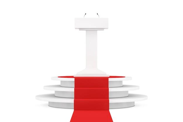 Стенд трибуны white podium tribune с микрофонами над круглым белым пьедесталом со ступенями и красной ковровой дорожкой на белом фоне. 3d рендеринг