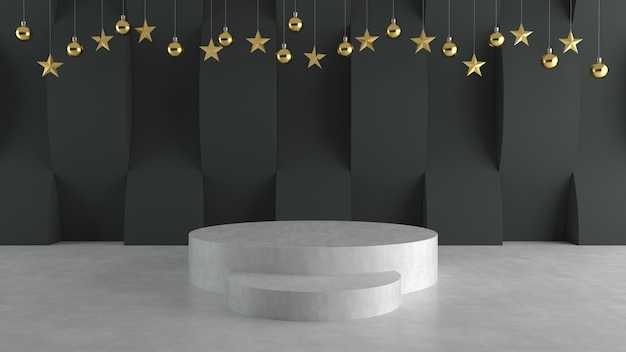 White podium on wave pattern background with hanging  balls and stars ornaments.