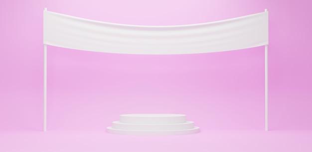 분홍색 배경에 빈 흰색 패브릭 배너와 함께 흰색 연단, 3d 렌더링