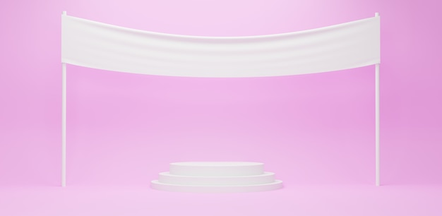 White podium with blank white fabric banner in pink background, 3d render