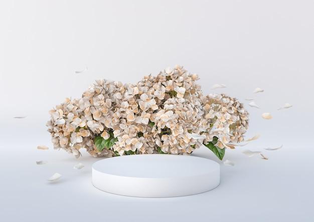 Белый подиум с цветами и летающими лепестками на белом фоне подиум для косметических продуктов