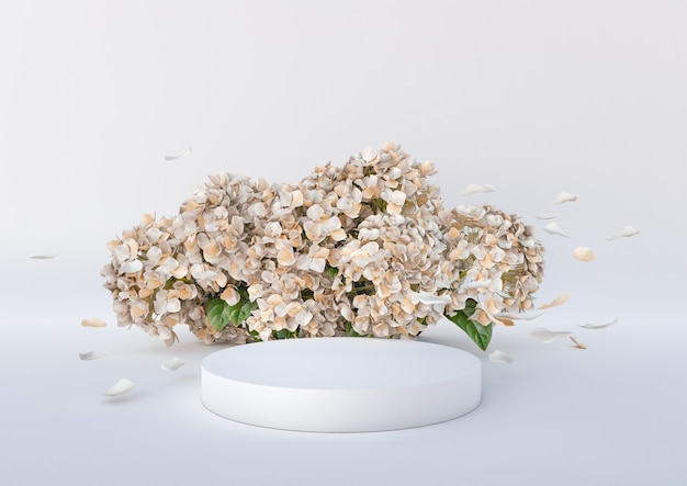 White podium with flowers and flying petals on white background podium for product cosmetic