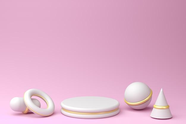 Белый подиум с золотыми вставками на пастельно-розовом фоне, 3d визуализация