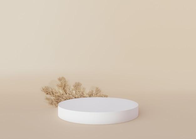 크림 배경에 팜파스그라가 있는 흰색 연단 제품 화장품 프레젠테이션을 위한 연단