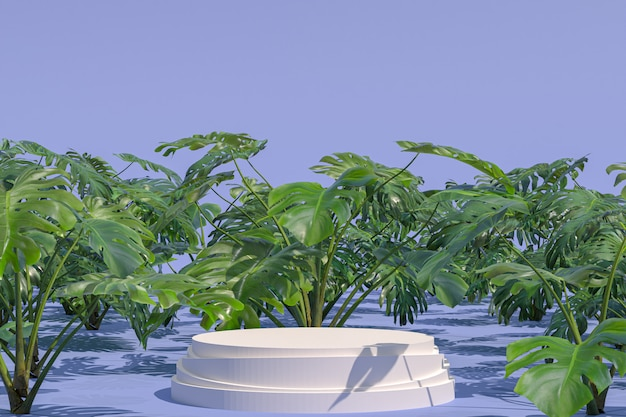 White podium with plants
